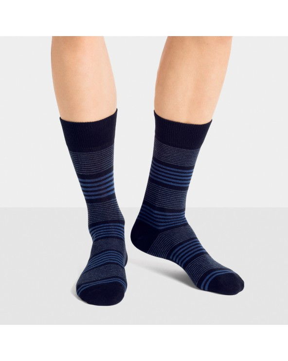 Chaussettes coton rayées entretien facile