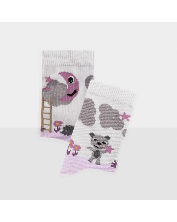 Chaussettes coton biologique motif ourson étoile