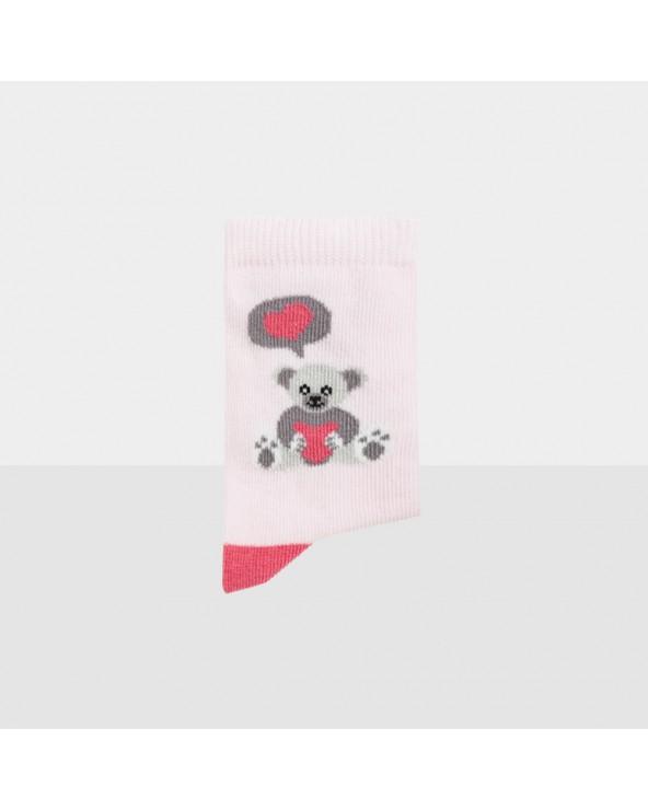 Chaussettes coton biologique motif ourson cœur