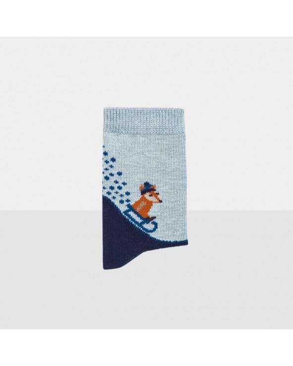 Chaussettes coton biologique motif renard et luge