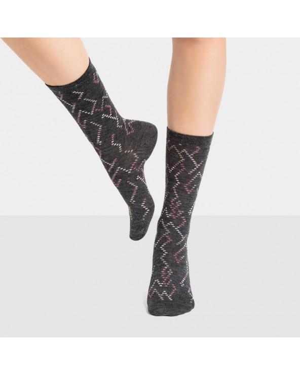 Chaussettes laine motifs géométriques