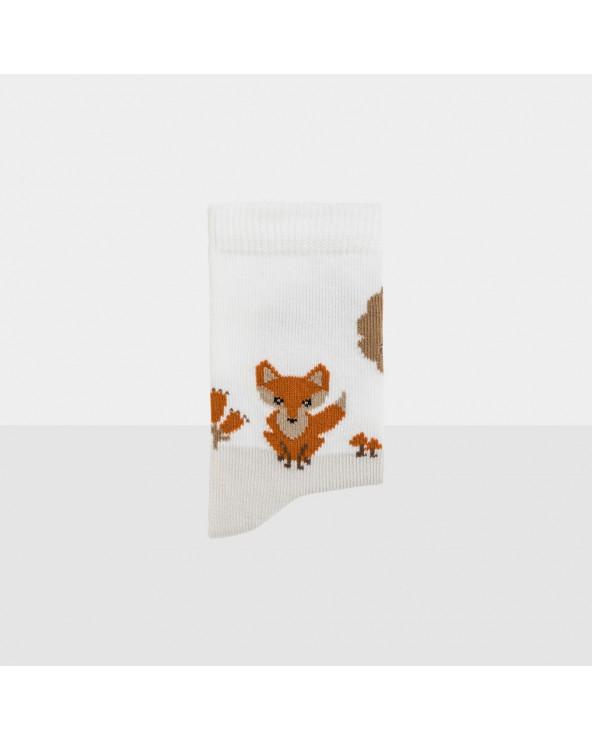 Chaussettes coton biologique motif renard