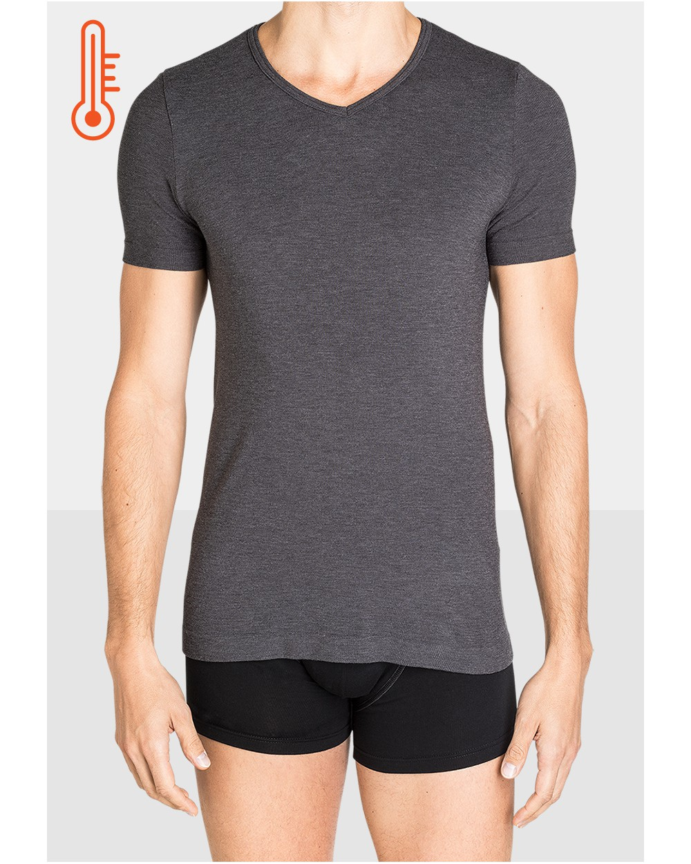 T-shirt Homme Col V Ultra Chaud Anthracite