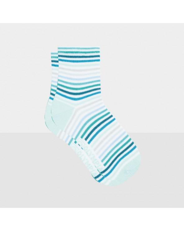 Chaussettes courtes coton rayées entretien facile
