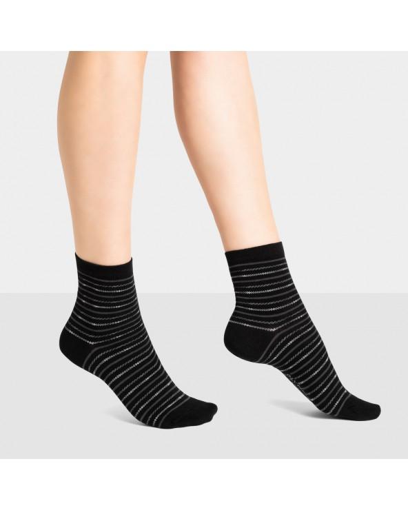 Chaussettes courtes coton marinière rayées