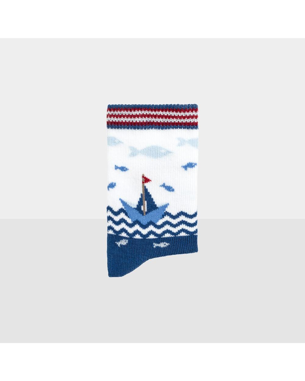Chaussons coton bio motif navire
