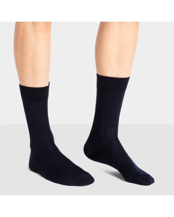Chaussettes coton motifs fausses côtes - Entretien facile
