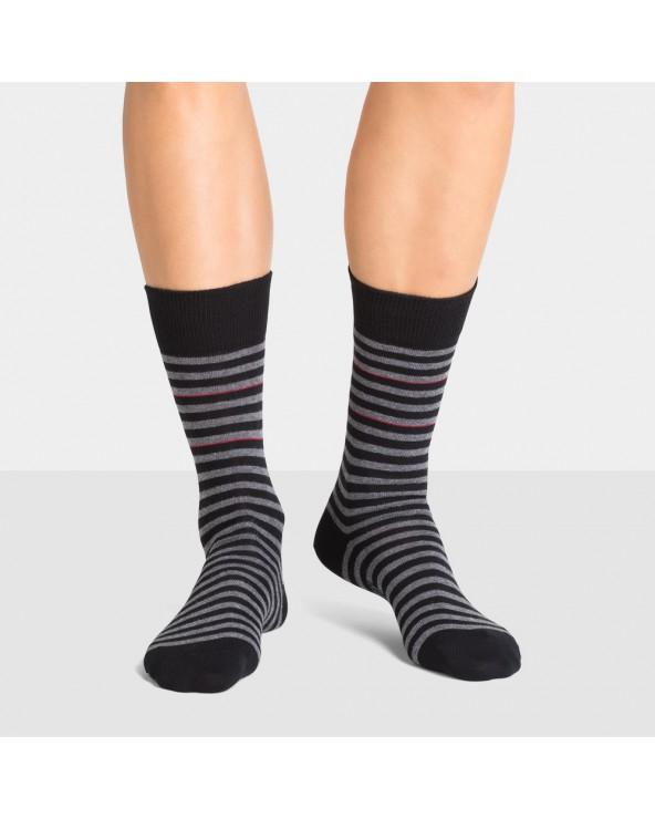 Chaussettes coton rayées - Entretien facile