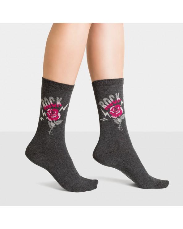 Chaussettes coton motif rose