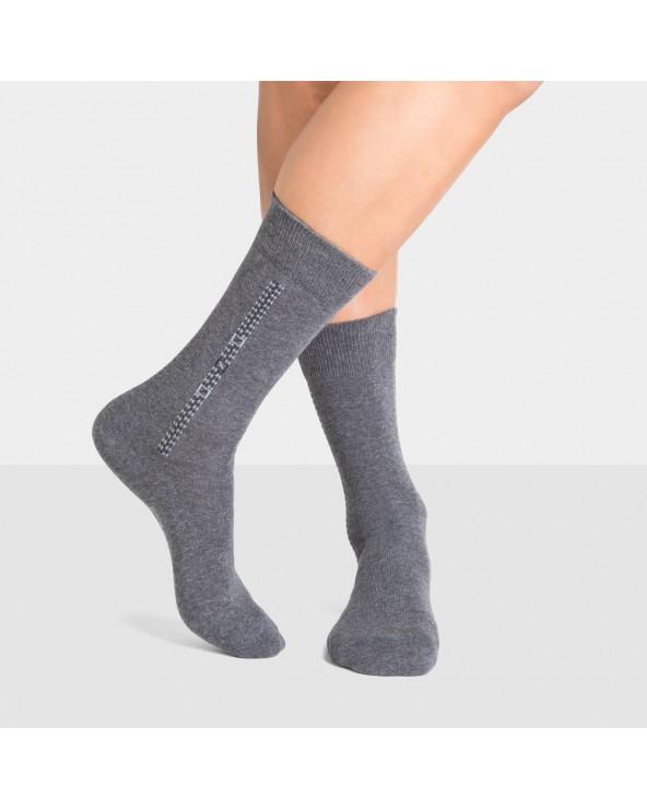 Chaussettes coton motif baguette et carrés