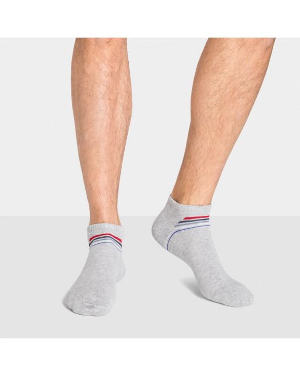 Socquettes coton sport motifs bandes colorées