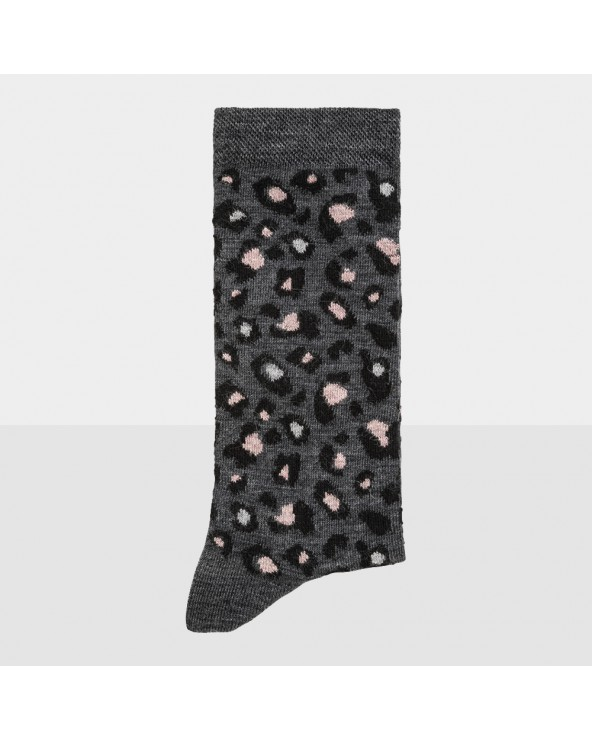 Chaussettes laine fine motif léopard