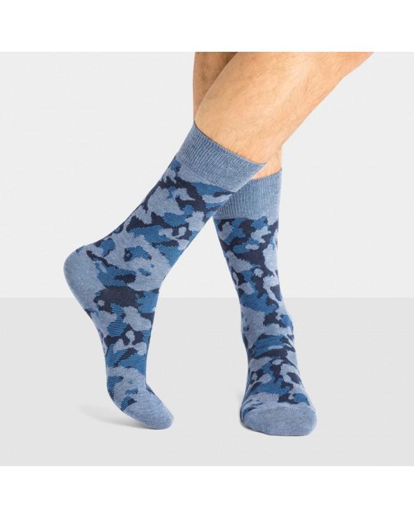 Chaussettes coton bio motif camouflage - Entretien facile
