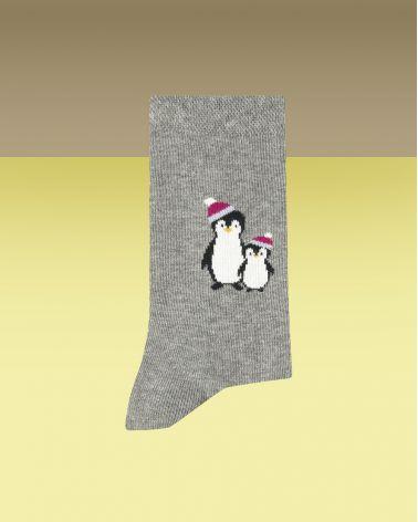 Chaussettes Coton Motif Pingouins