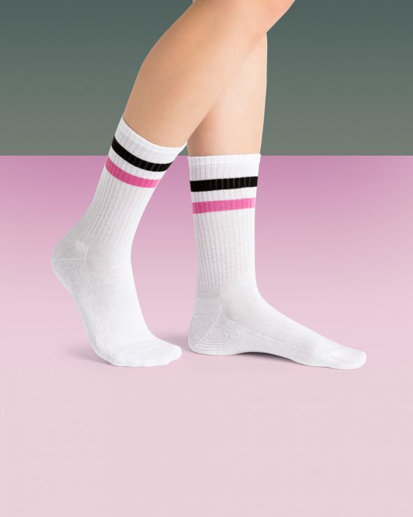 Chaussettes Coton Sport Motif Bandes