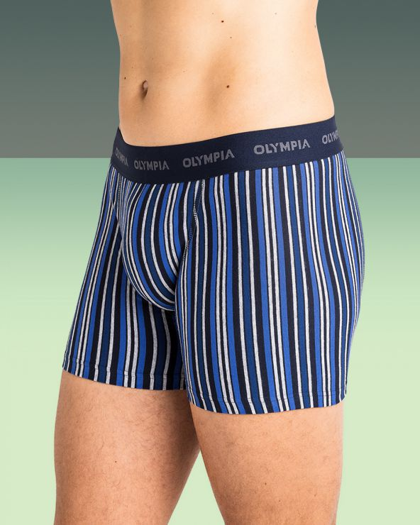 Boxers Coton Rayures Bayadere - Marine/bleu