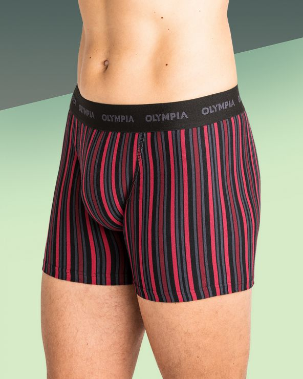 Boxers Coton Rayures Bayadere - Noir/rouge