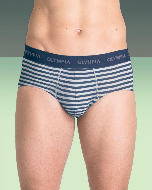 Slips coton stretch à rayures - Jean/gris