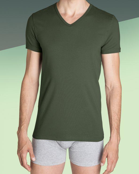 T-shirt Homme Col V Kaki