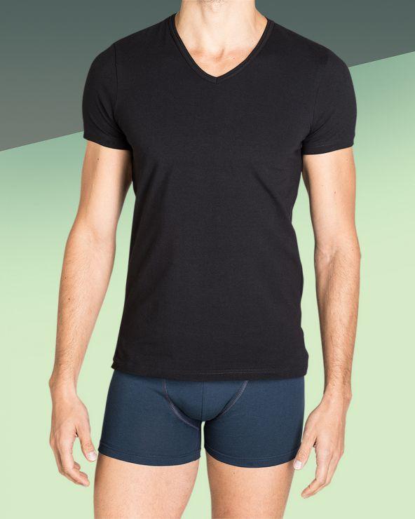T-shirt Homme Col V Noir