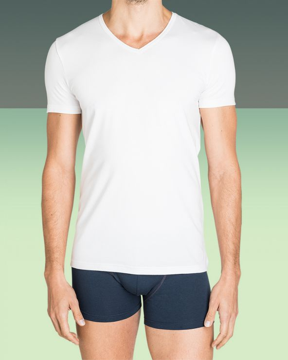 T-shirt Homme Col V Blanc