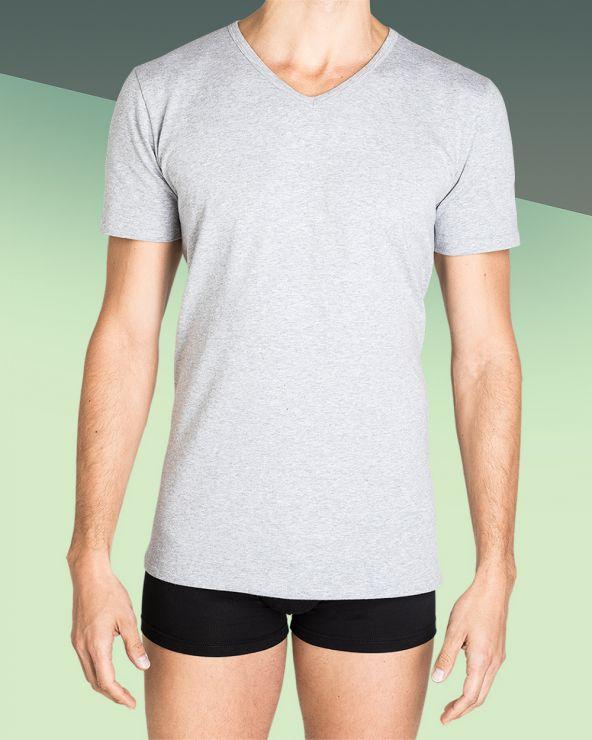 T-shirt Homme Col V Gris