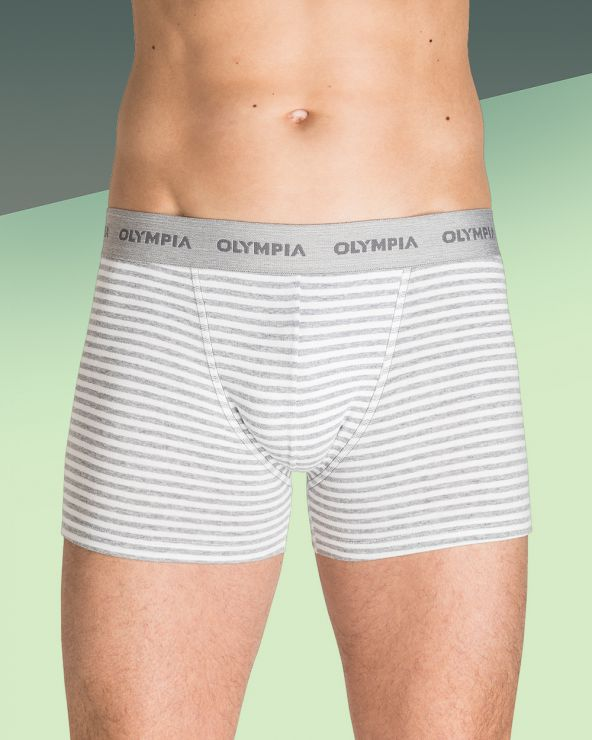 Boxers Coton Rayés - Blanc/gris